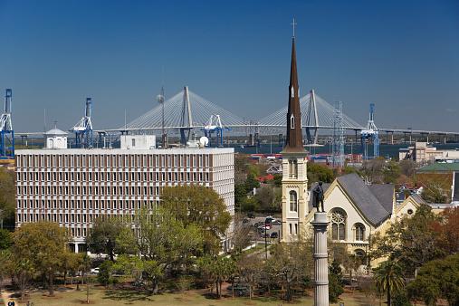 Charleston - South Carolina「USA, South Carolina, Charleston, Marion Square, aerial view」:スマホ壁紙(9)