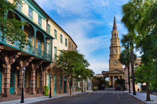 Charleston - South Carolina「USA, South Carolina, Charleston, Church Street, Dock Street Theater, St. Philip's Church」:スマホ壁紙(6)