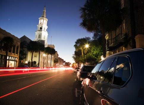 Charleston - South Carolina「USA, South Carolina, Charleston, Light trails in street」:スマホ壁紙(9)