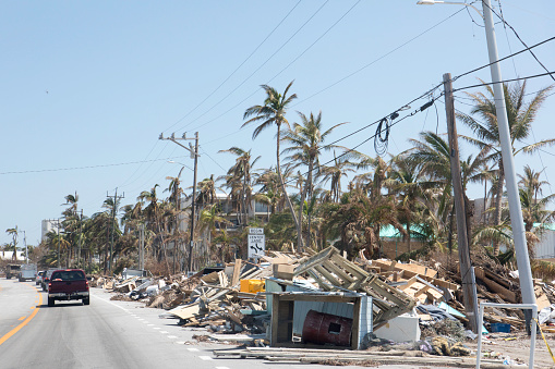 Destruction「Aftermath of hurricane in Florida Keys leaves piles of trash and debris to be cleaned up」:スマホ壁紙(0)