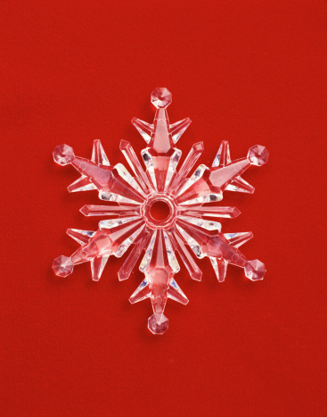 雪の結晶「Snowflake Ornament on Red Background」:スマホ壁紙(12)