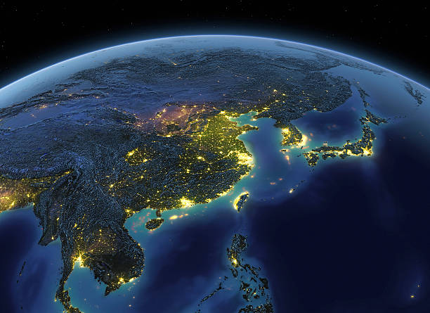 Earth at night China / Japan:スマホ壁紙(壁紙.com)