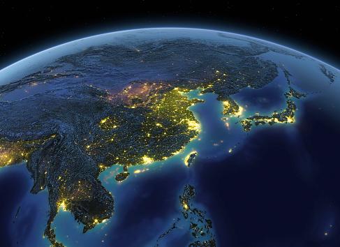 Planet - Space「Earth at night China / Japan」:スマホ壁紙(16)