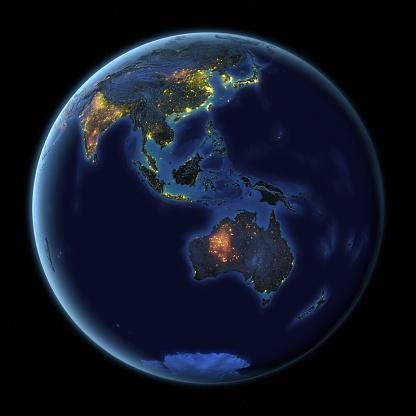 Southeast Asia「Earth at Night Australia」:スマホ壁紙(4)