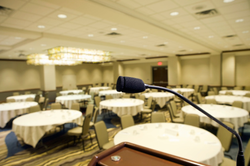 Auditorium「Microphone at Podium in Hotel Convention Room」:スマホ壁紙(12)