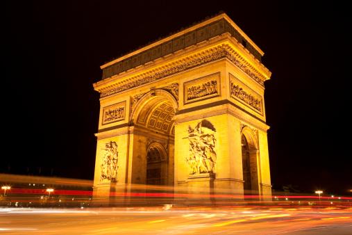 Arc de Triomphe - Paris「Night Traffic and Arc de Triomphe, Paris, France」:スマホ壁紙(15)