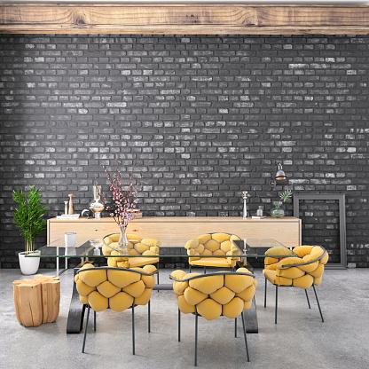 Brick Wall「Nordic style apartment dining room」:スマホ壁紙(6)