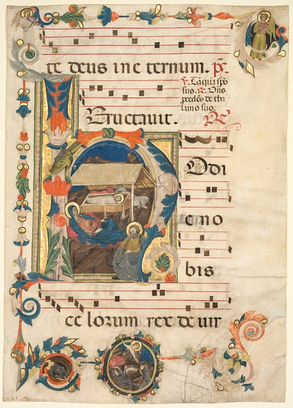 Tempera Painting「Leaf From An Antiphonary With Historiated Initial (H) With The Nativity (Recto)」:写真・画像(9)[壁紙.com]