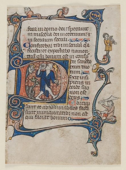 Circa 14th Century「Leaf From A Psalter: Initial D: A Fool Rebuked By God」:写真・画像(11)[壁紙.com]