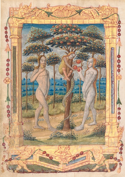 Manuscript「Leaf From A Book Of Hours: Adam And Eve And The Fall Of Man...(Recto)」:写真・画像(1)[壁紙.com]