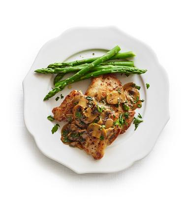 Asparagus「Chicken scaloppine with mushrooms and asparagus」:スマホ壁紙(7)