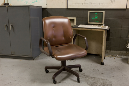 Old-fashioned「old vinyl chair and computer in factory」:スマホ壁紙(2)