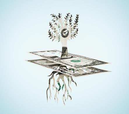 Paper Craft「Paper-cut dollar - Tree and roots.」:スマホ壁紙(7)