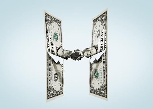 Two Objects「Paper-cut dollar - Handshake.」:スマホ壁紙(9)