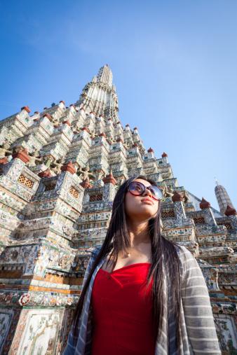 ファッションモデル「若い中国人観光で、ワットアルン、バンコク、タイ」:スマホ壁紙(8)