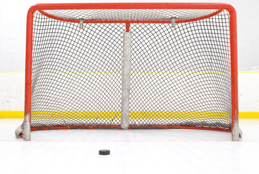 Ice Hockey Rink「Hockey Puck Near Goal Net」:スマホ壁紙(6)