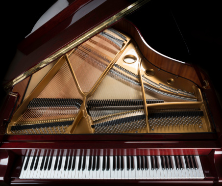 Gold Colored「grand piano overview, keyboard, strings, and inside」:スマホ壁紙(7)