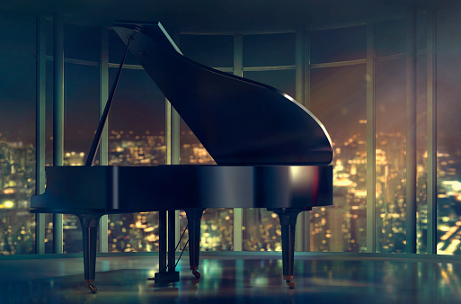 Surface Level「Grand piano near window with scenic view of city」:スマホ壁紙(13)