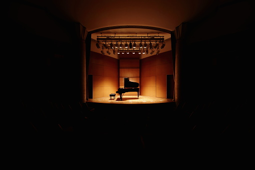 Spotlight「Grand piano on concert hall stage」:スマホ壁紙(16)