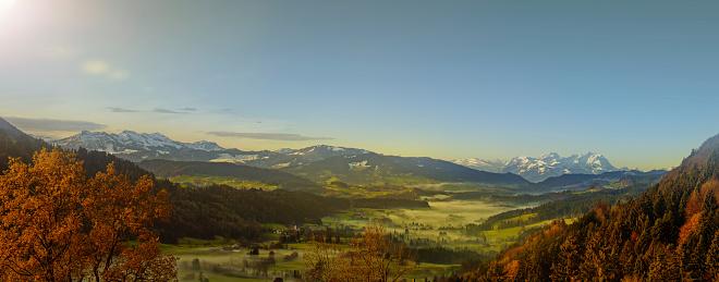 Panoramic「wonderful autumn view over european alps」:スマホ壁紙(1)