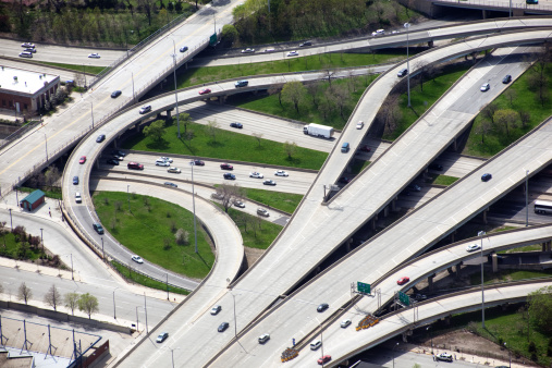 Illinois「Chicago Highway Overpass, Aerial View」:スマホ壁紙(14)