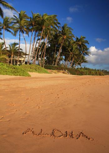 Kihei「Aloha written in Maui Hawaii resort hotel sand beach」:スマホ壁紙(12)