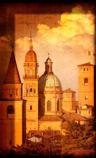Sepia Toned「Artistic View of Italian Renaissance Churches and Towers」:スマホ壁紙(3)