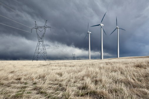 Electricity Pylon「 Power Lines and wind turbines」:スマホ壁紙(7)