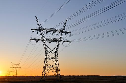 Electricity Pylon「power lines in sunset」:スマホ壁紙(15)