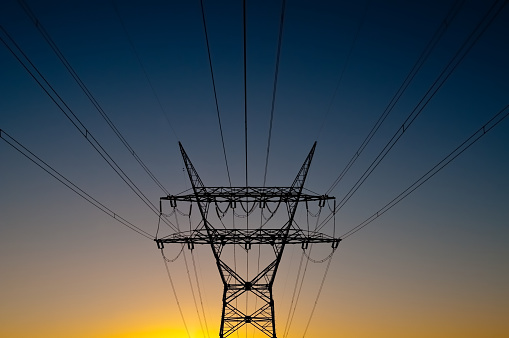 Electricity Pylon「power lines in sunset」:スマホ壁紙(6)