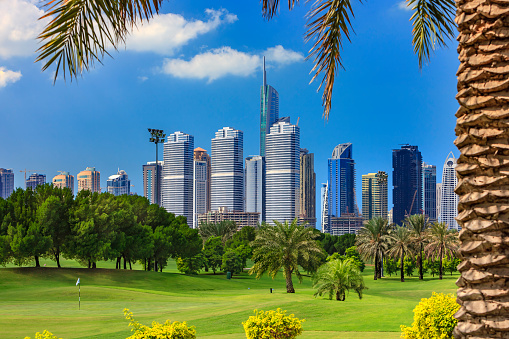Putting - Golf「Dubai, United Arab Emirates: Golf Fairway In The Foreground; Modern Skyscrapers Of The Jumeirah Lake Towers Area In The Background, Framed By A Date Palm Tree To The Right」:スマホ壁紙(3)