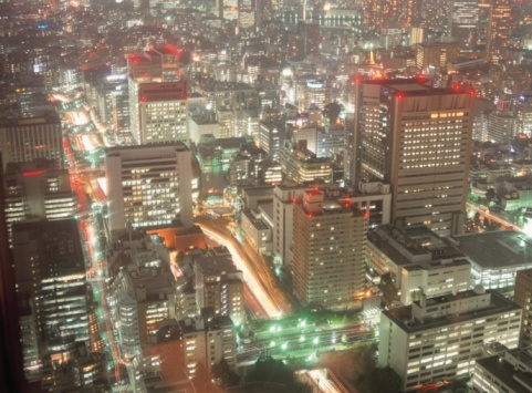 Shiodome「Shiodome at night. Tokyo, Japan」:スマホ壁紙(3)