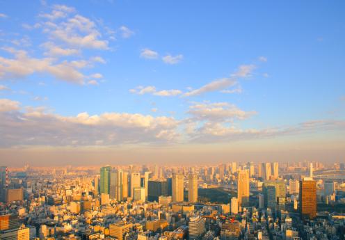 Japan「Shiodome at dusk, Minato ward, Tokyo Prefecture, Honshu, Japan」:スマホ壁紙(5)