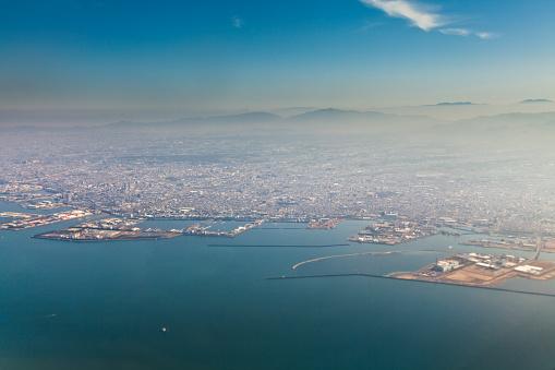 Kinki Region「Kansai Osaka aerial view from airplane, Japan」:スマホ壁紙(17)