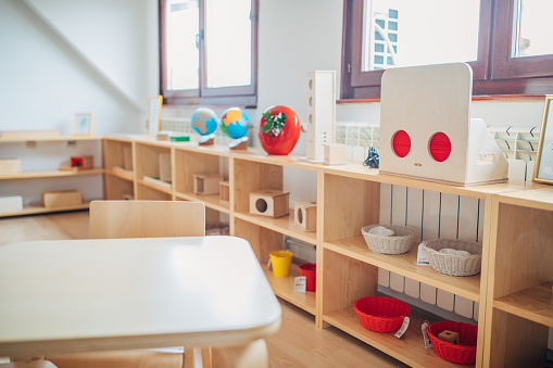 Empty Desk「Classroom of kindergarten interior design」:スマホ壁紙(19)
