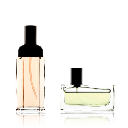 Girly「Two perfume bottles vertical and horizontal, isolated on white」:スマホ壁紙(19)