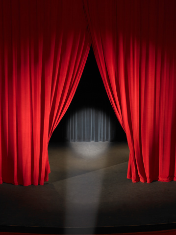 Curtain「Empty stage with curtains slightly open and spotlight on」:スマホ壁紙(1)