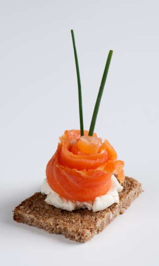 Loaf of Bread「Salmon canape isolated on a white background」:スマホ壁紙(10)