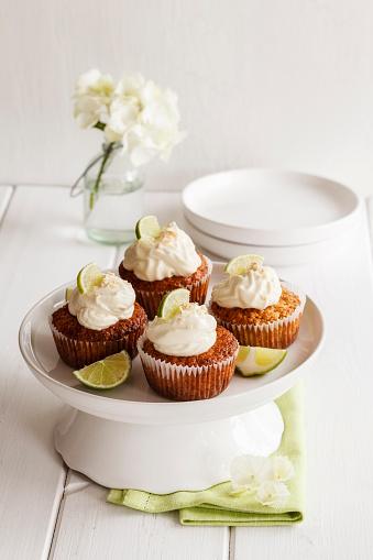 あじさい「Four lime cup cakes with cream cheese topping on cake stand」:スマホ壁紙(8)