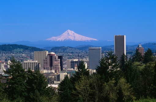 Growth「Portland Cityscape with Mount Hood in Background」:スマホ壁紙(14)