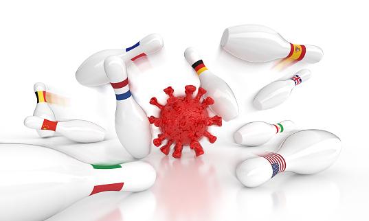 Iran「concept: coronavirus outbreak as a bowling game (clipping path)」:スマホ壁紙(6)