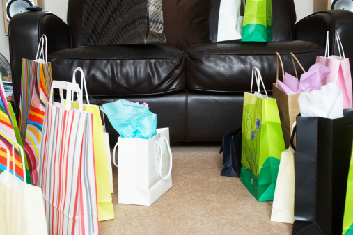 Retail「Array of shopping bags positioned around sofa」:スマホ壁紙(13)