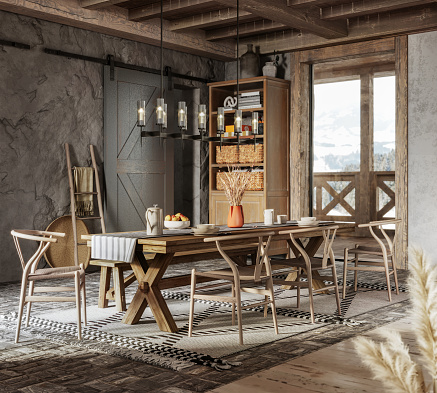Chalet「3d rendering of a dining table in winter cottage」:スマホ壁紙(18)