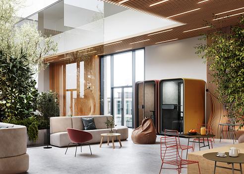 Open Plan「3d rendering of a modern and luxurious office interior」:スマホ壁紙(13)