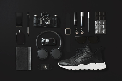 High Angle View「Black fashion and technology items flat lay on black background」:スマホ壁紙(14)