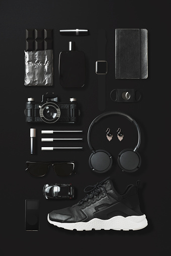 Electrical Equipment「Black fashion and technology items flat lay on black background」:スマホ壁紙(19)