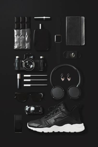 Black fashion and technology items flat lay on black background:スマホ壁紙(壁紙.com)