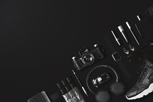 Watch - Timepiece「Black fashion and technology items flat lay on black background」:スマホ壁紙(9)