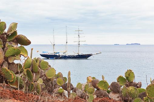 Cruise - Vacation「Pacific Ocean, sailing ship at Rabida Island with Opuntia echios, Galapagos Islands」:スマホ壁紙(3)