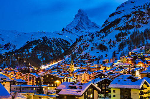 Ski Resort「Zermatt town with Matterhorn peak in Mattertal, Switzerland, at dusk」:スマホ壁紙(2)